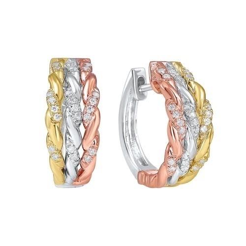 Diamond Triple Rope Hoop Earrings In Tri-Color Gold (1/7 Ctw)
