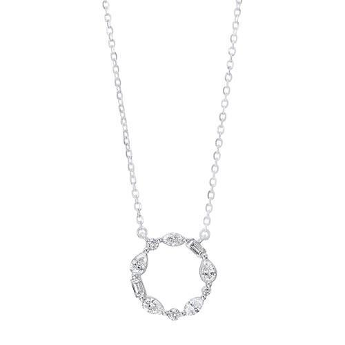 Diamond Wreath Eternity Circle Pendant In 14k White Gold (1/4 Ctw)