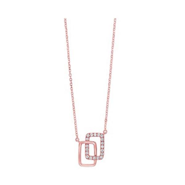 Diamond Double Eternity Rectangle Pendant Necklace In 14k Yellow Gold (0.08ctw)