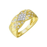 Diamond Quilted Weave Band In 14k Yellow Gold (1/3ctw)