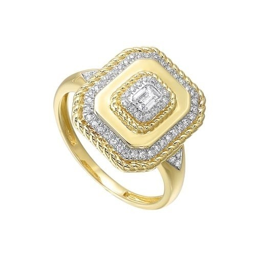Diamond Twisted Rope Signet Ring In 14k Yellow Gold (1/3ctw)