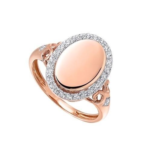 Diamond Vintage Oval Signet Ring In 14k Rose Gold (1/4ctw)