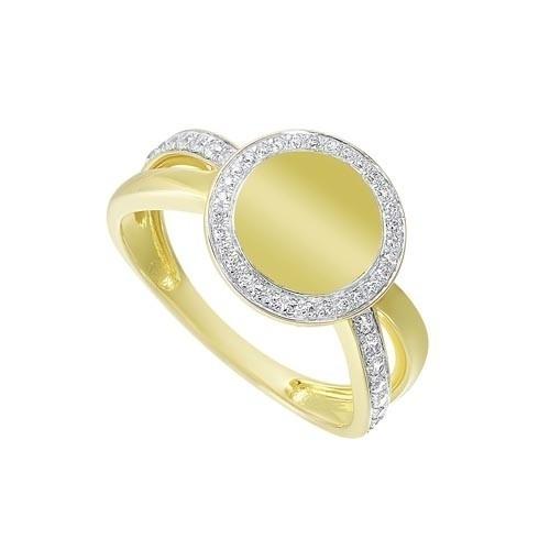 Diamond Medallion Signet Ring In 14k Yellow Gold (1/4ctw)