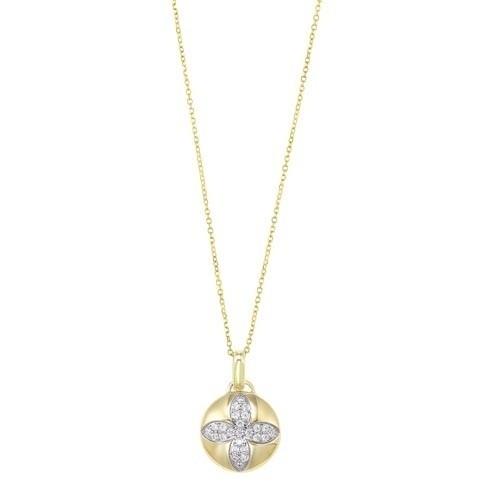 Diamond Medallion Flower Pendant Necklace In Yellow Gold (1/4ctw)