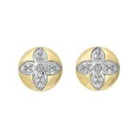 Diamond Medallion Flower Button Stud Earrings In Yellow Gold (1/4ctw)