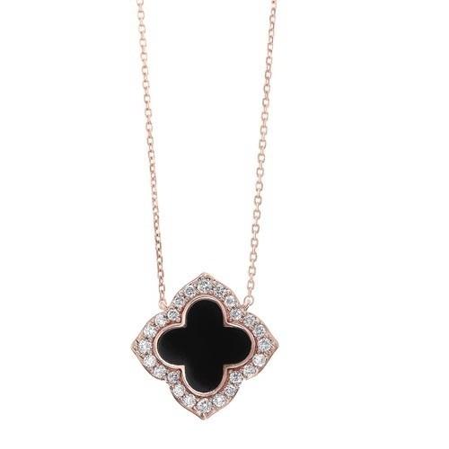 Diamond Clover Onyx & Diamond Pendant Necklace In 14k Yellow Gold (1/4ctw)