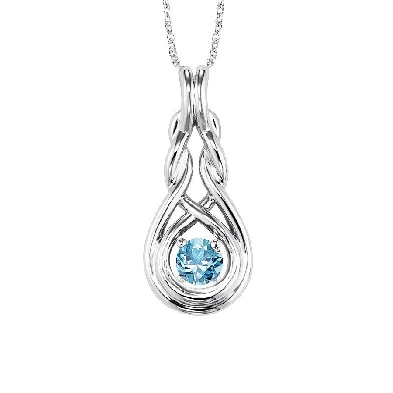 Blue Topaz Infinity Pendant Necklace In Sterling Silver