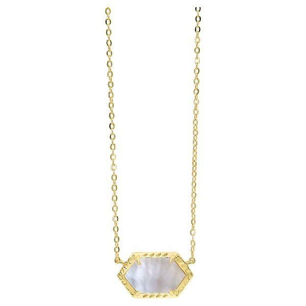 Chic Mother Of Pearl Hexagon Pendant Layer Necklace In Gold Plated Sterling Silver