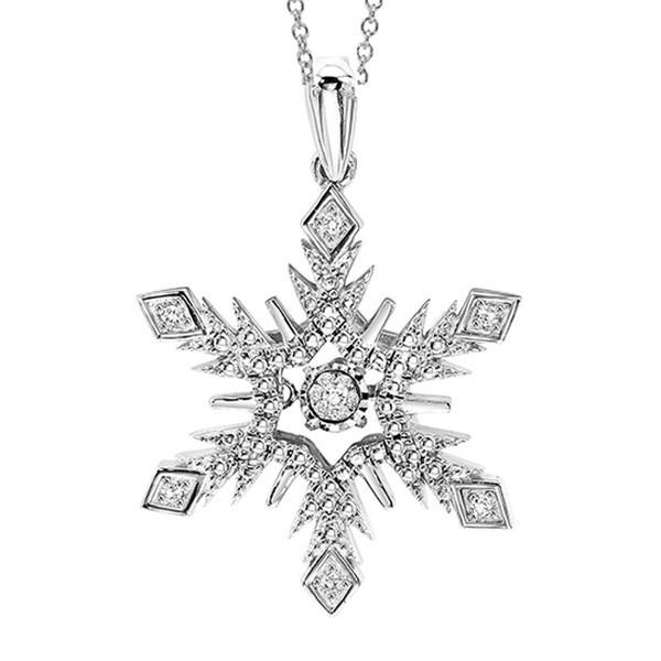 Diamond Rhythm Of Life ROL Filigree Snowflake Pendant In Sterling Silver