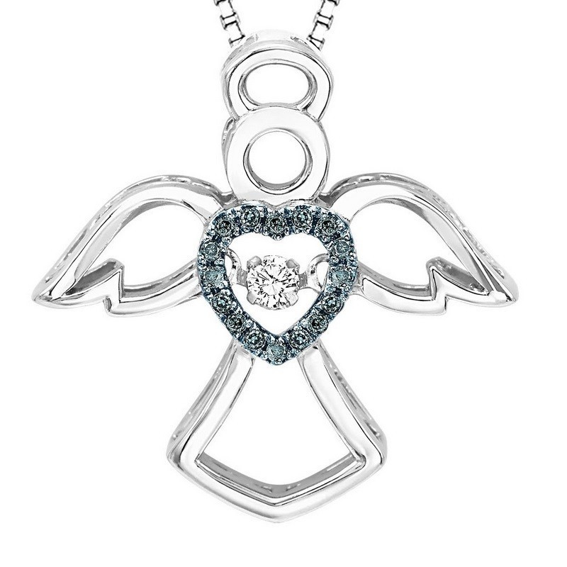 Diamond ROL Rhythm Of Life Heavenly Angel Pendant Necklace In Sterling Silver (1/10ctw)