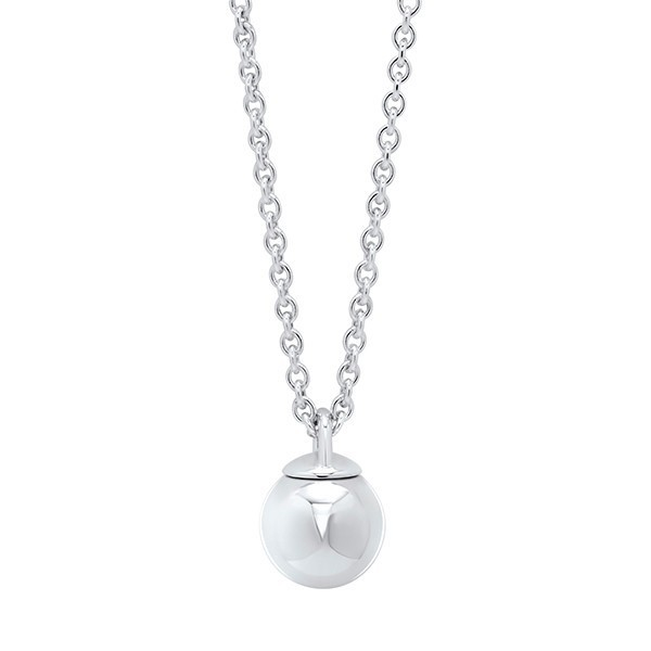 Silver Ball Ornament Drop Pendant Necklace In Sterling Silver