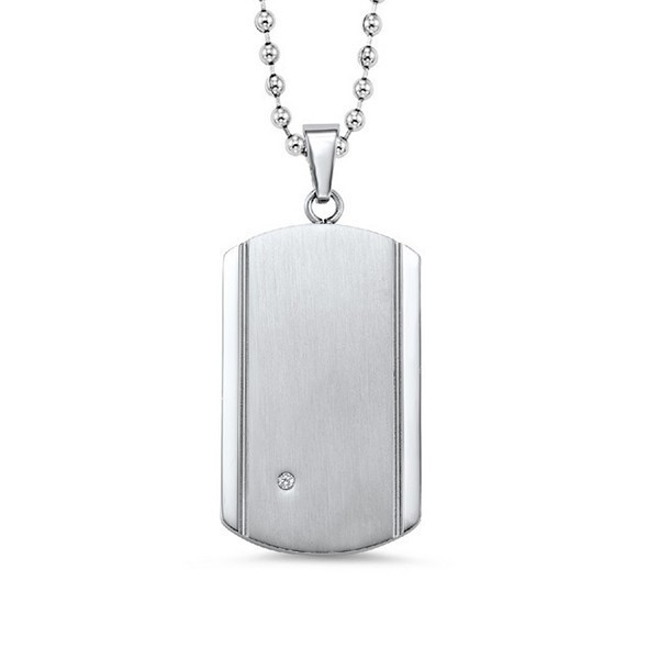 Men's Diamond Dog Tag Pendant Necklace In Brushed & Bright Polished Stainless Steel - Engravable