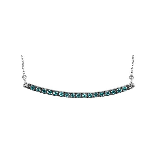 Fancy Blue Diamond Curved Bar Pendant Layer Necklace In Sterling Silver (1/4ctw)