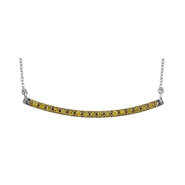 Fancy Green Diamond Curved Bar Pendant Layer Necklace In Sterling Silver (1/4ctw)