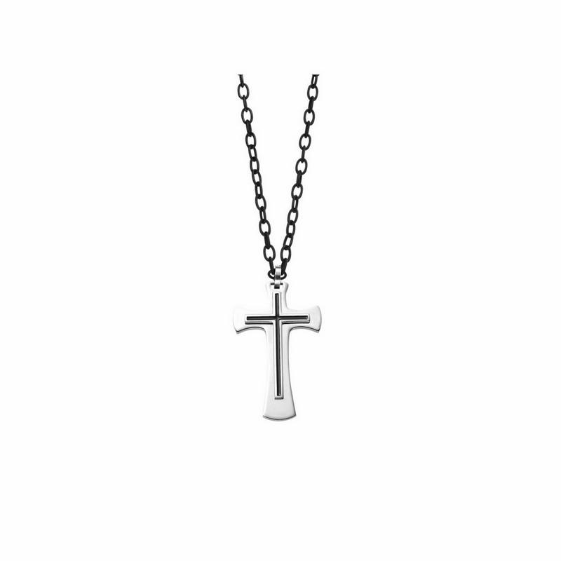 Contemporary 3D Celtic Cross Pendant In Black & White Stainless Steel