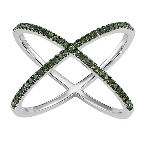 Fancy Green Diamond Criss-Cross Orbital Ring In Sterling Silver (1/4ctw)