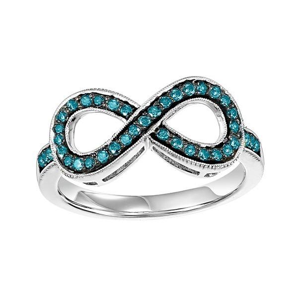 Fancy Blue Diamond Infinity Ring In Sterling Silver (1/4ctw)