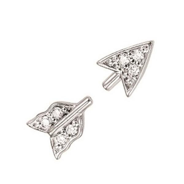 Diamond Cupid's Bow Earrings In Sterling Silver