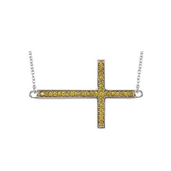 Fancy Yellow Diamond Sideways Cross Pendant In Sterling Silver