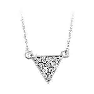Modern Diamond Triangle Pendant Layer Necklace In Sterling Silver (1/10ctw)