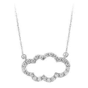Diamond Floating Cloud Pendant Layer Necklace In Sterling Silver (1/4 Ctw)