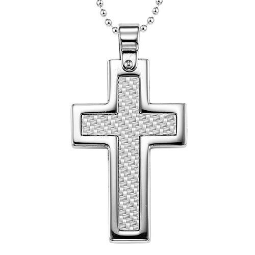 Men's Textured Basketweave High Shine Cross Pendant In Sterling Silver