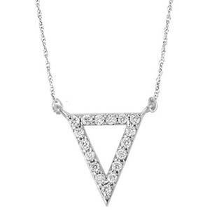 Diamond Triangle Frame Pendant Layer Necklace In Sterling Silver (1/6 Ctw)