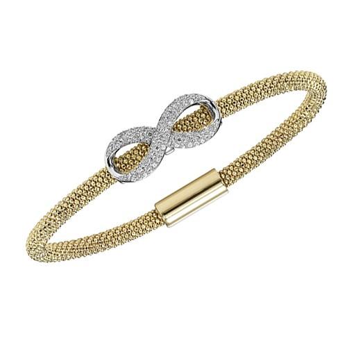 Diamond Infinity Symbol Mesh Oval Bracelet In Two Tone Silver