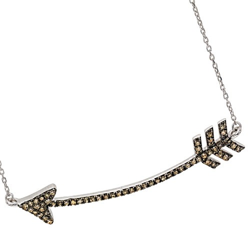 Brown Diamond Cupid's Arrow Pendant Layer Necklace In Sterling Silver (1/3 Ctw)