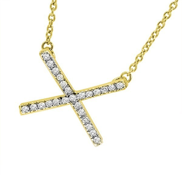 Diamond Hugs X-Pendant Layer Necklace In Yellow Sterling Silver (1/5 Ctw)