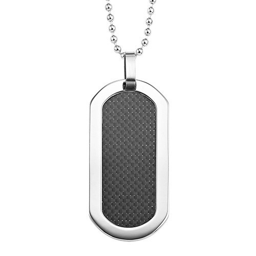Men's Midnight Carbon Fiber Dog Tag Pendant In Stainless Steel