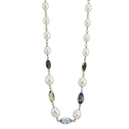 Cultured Freshwater Pearl & Gemstone Raindrop Necklace In Sterling Silver