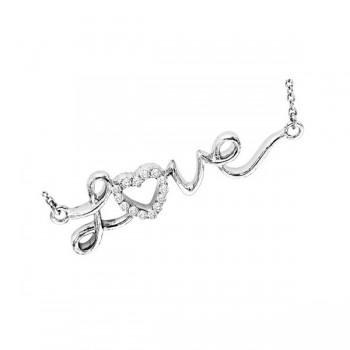 Diamond Cursive Love Heart Pendant In Sterling Silver