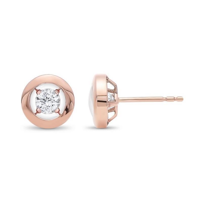 Diamond Solitaire Modern Stud Earrings In Gold (1/6ctw)