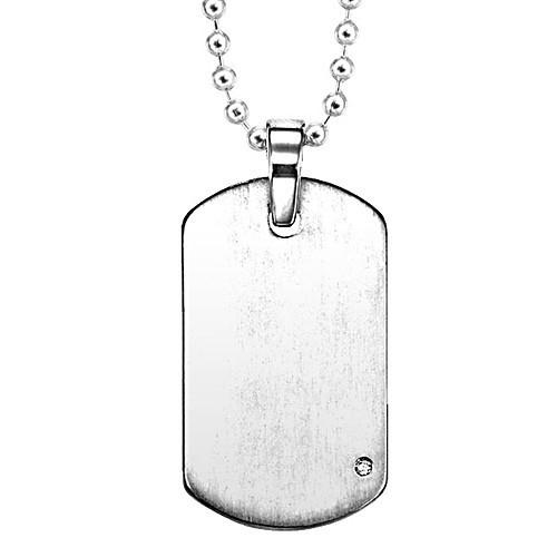 Men's Diamond Dog Tag Pendant In Titanium - Engravable