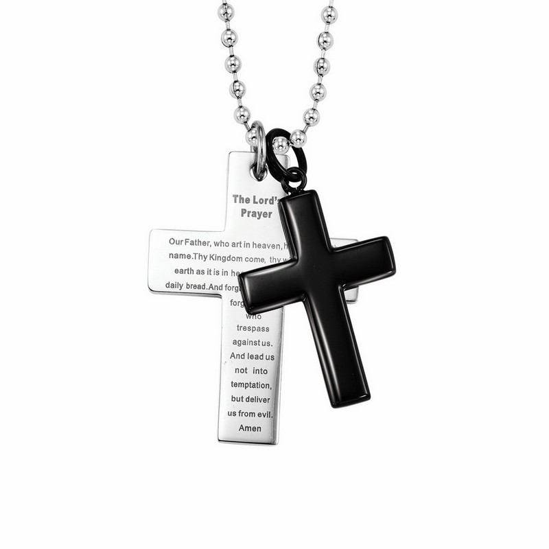 The Lord's Prayer Double Cross Pendant In Black & White Stainless Steel