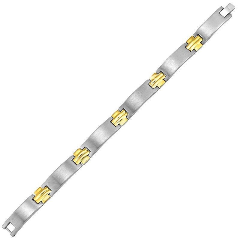 Men's Curved Bar Watch Link Bracelet In Two Tone Stainless Steel
