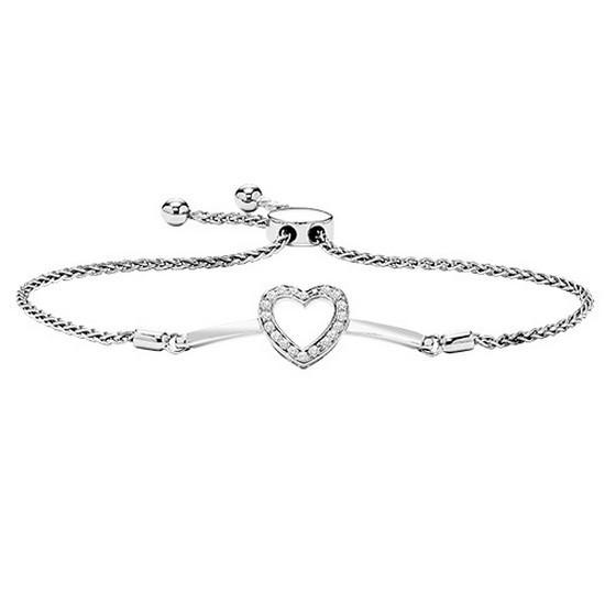 Diamond Halo Heart Sterling Silver Bolo Bracelet - Adjustable (1/10 Ctw)
