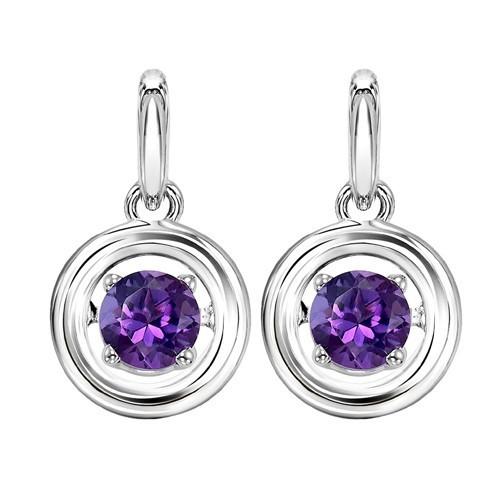 Amethyst Birthstone ROL Rhythm Of Life Drop Earrings In Sterling Silver