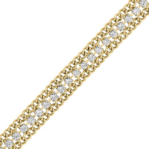 Diamond Triple Wide Curb Link Tennis Bracelet In Yellow Sterling Silver