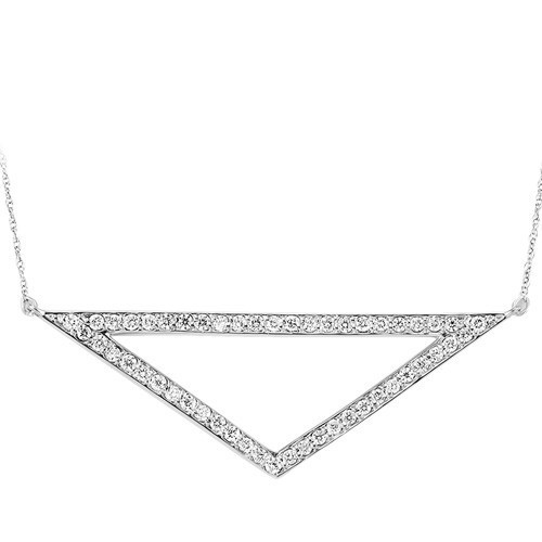 Contemporary Diamond Elongated Triangle Pendant In Sterling Silver (1/2 Ctw)
