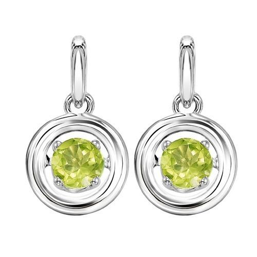 Peridot Birthstone ROL Rhythm Of Life Dangle Earrings In Sterling Silver