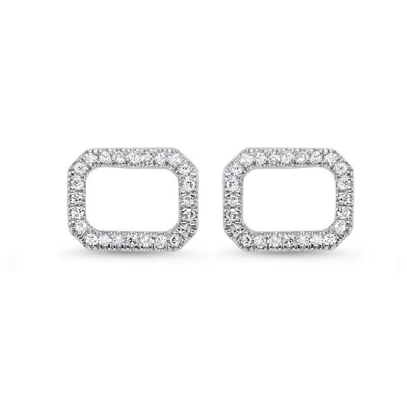 Diamond Geometric Halo Frame Stud Earrings In 14k White Gold