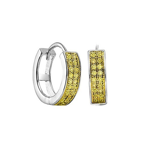 Yellow Diamond Double Row Huggie Hoop Earrings In Sterling Silver (1/5 Ctw)