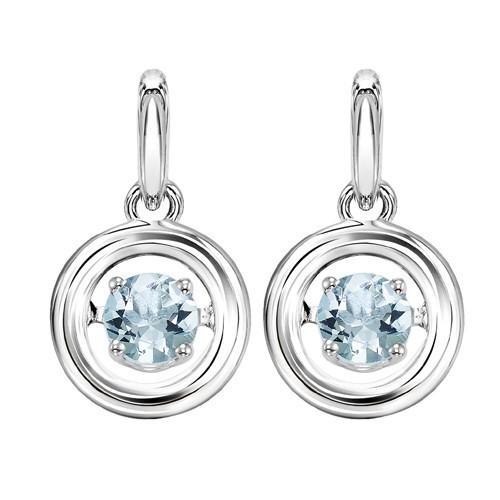 Aquamarine Birthstone ROL Rhythm Of Life Dangle Earrings In Sterling Silver