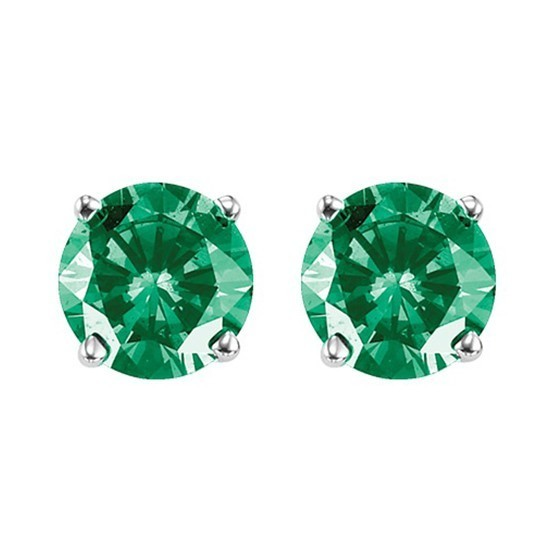 Fancy Forest Green Diamond Solitaire Stud Earrings In White Gold (1 Ctw)