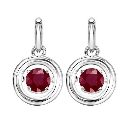 Ruby Birthstone ROL Rhythm Of Life Dangle Earrings In Sterling Silver