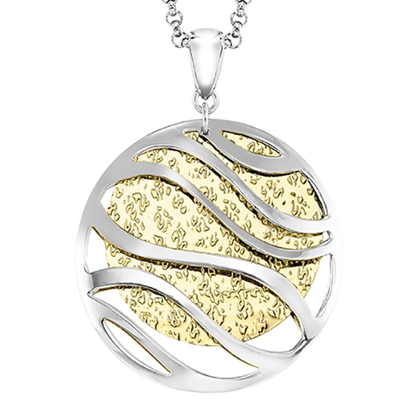 Modern Double Medallion Universe Pendant In Two Tone Silver