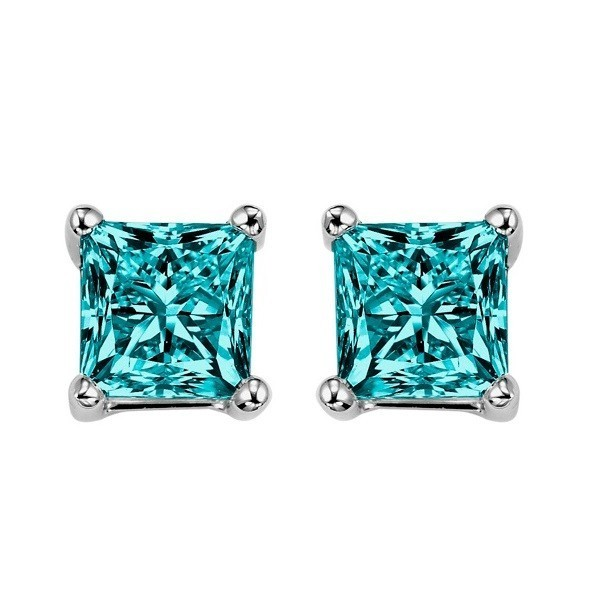 Fancy Blue Princess Diamond Solitaire Studs In White Gold (1/2 Ctw)