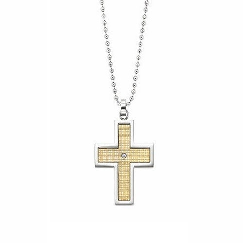 Diamond Solitaire 18k Yellow Gold Cross Pendant In Stainless Steel